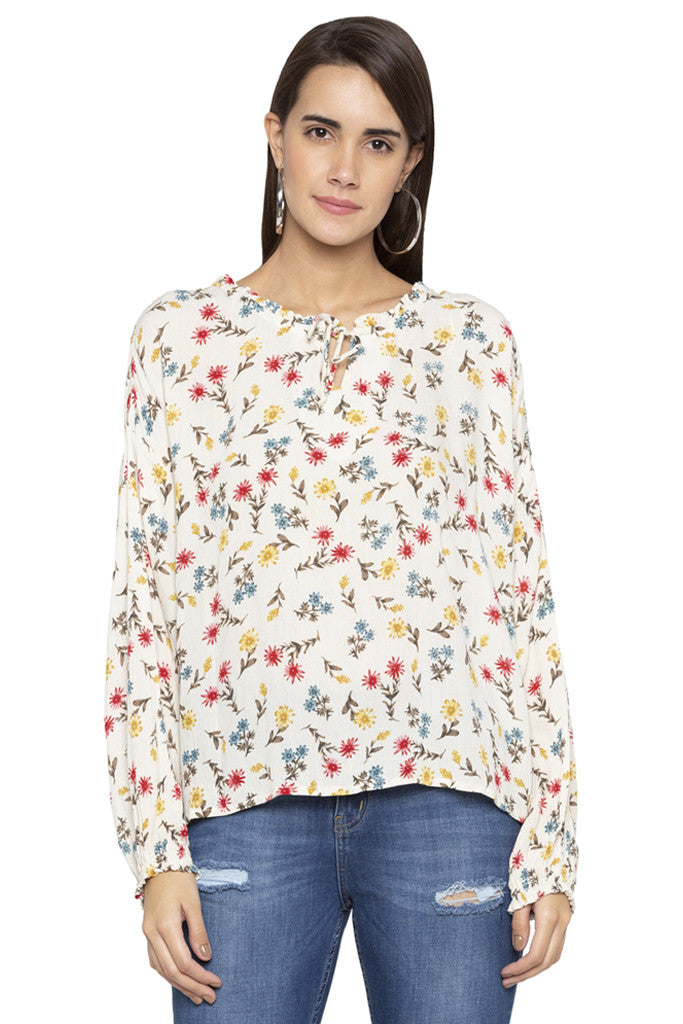 Floral Print Tie-up neck Top-1