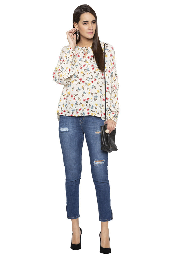 Floral Print Tie-up neck Top-2