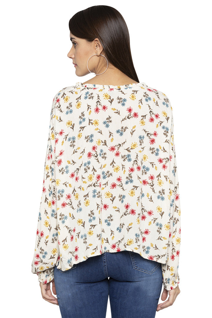 Floral Print Tie-up neck Top-3