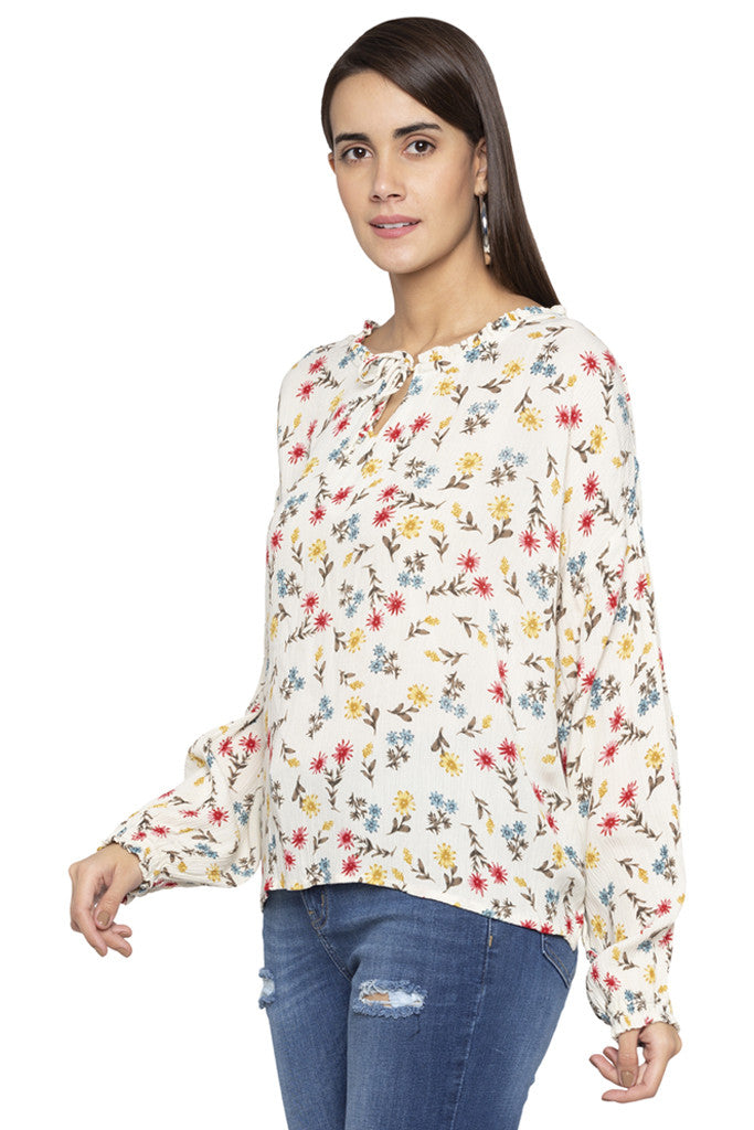 Floral Print Tie-up neck Top-4