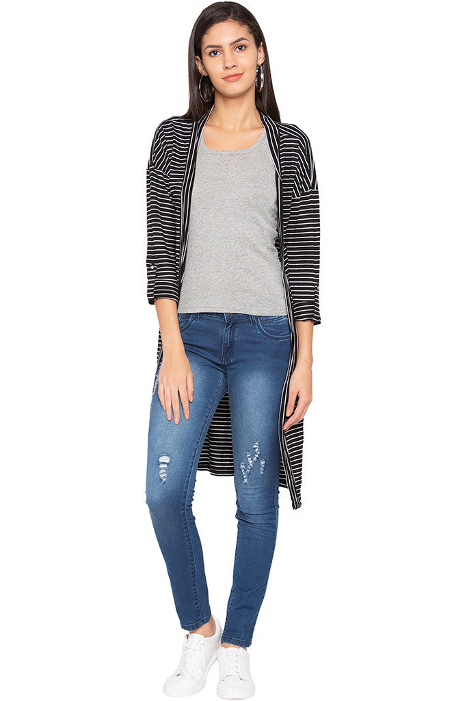 Striped Longline Shrug-1