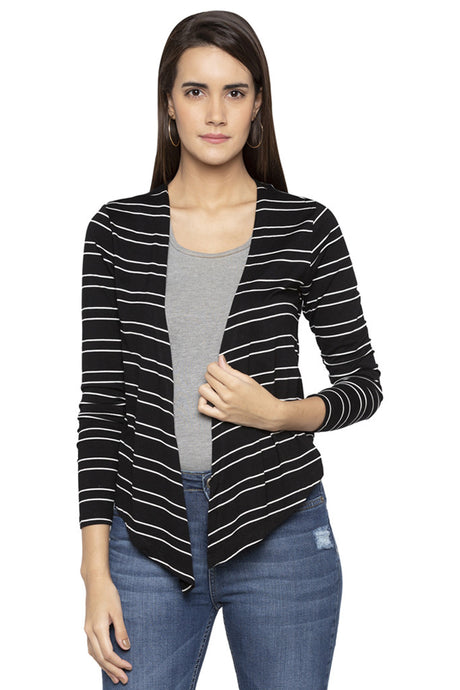 Striped Front Open Shrug-1