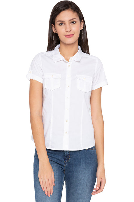 Double Patch Pocket Casual White Shirt-1