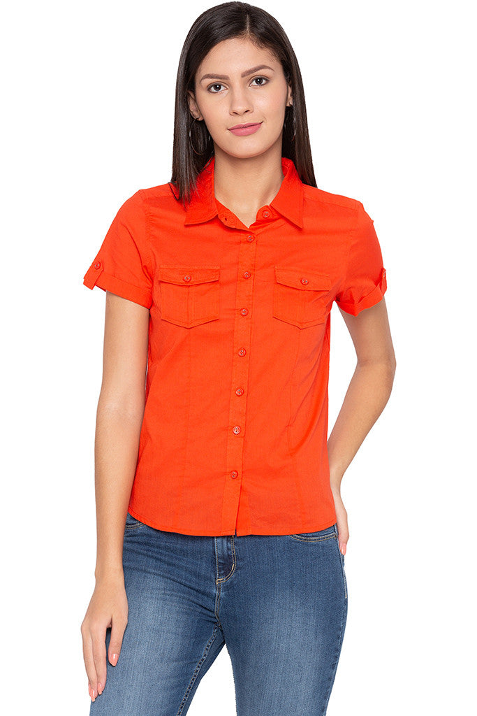 Double Patch Pocket Casual Orange Shirt-1