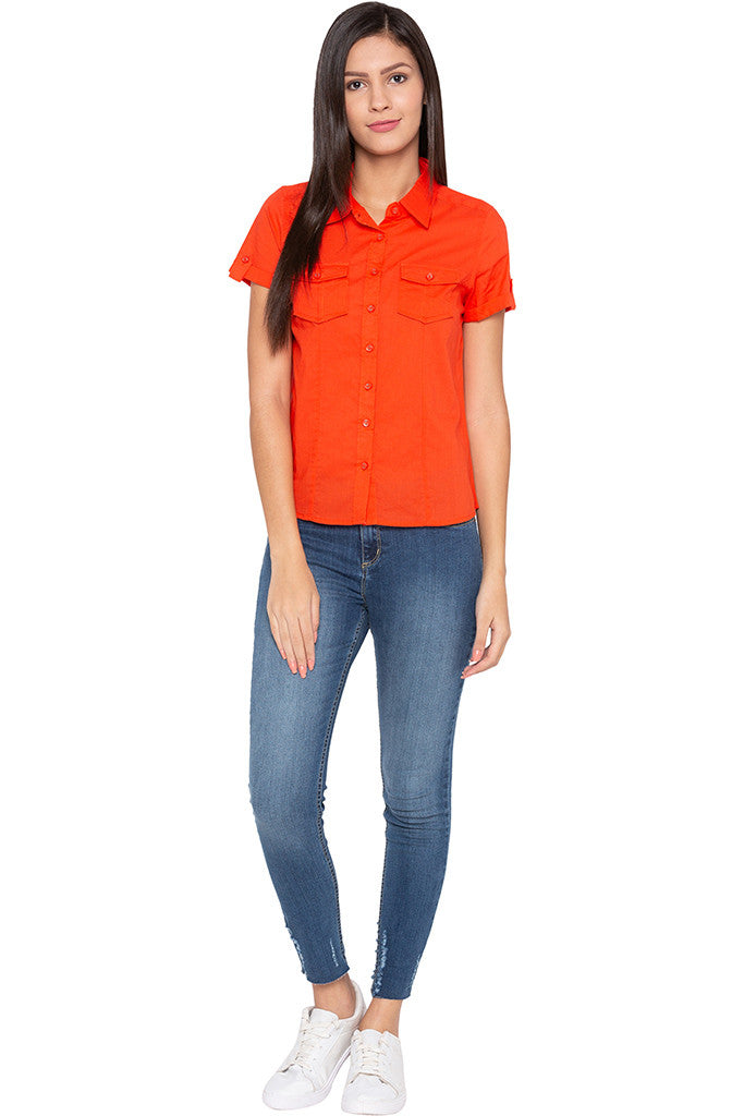 Double Patch Pocket Casual Orange Shirt-2
