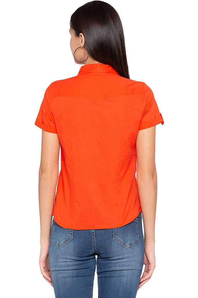 Double Patch Pocket Casual Orange Shirt-3