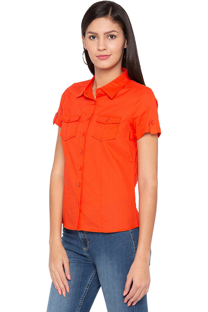 Double Patch Pocket Casual Orange Shirt-4