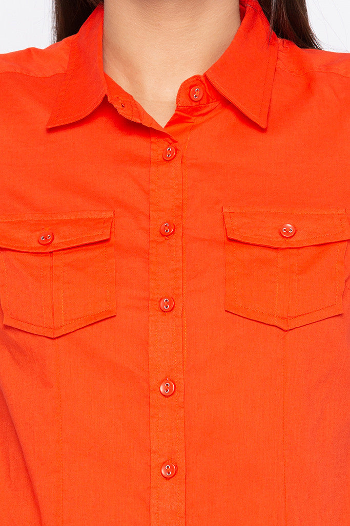 Double Patch Pocket Casual Orange Shirt-5