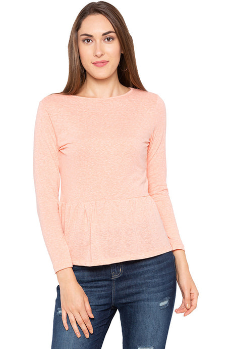 Peach Peplum Long Sleeve Top-1
