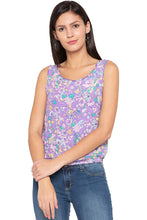 Load image into Gallery viewer, Floral Print Sleeveless Lilac Blouson Top-1