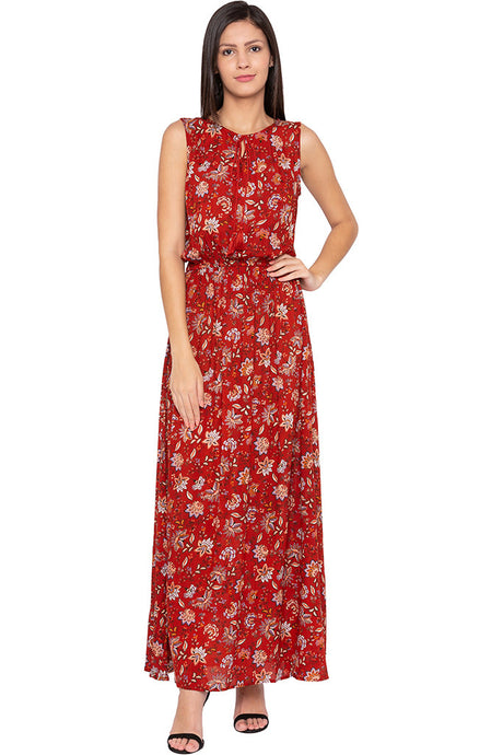Floral Print Fit-to-flare Rust Maxi Dress-1