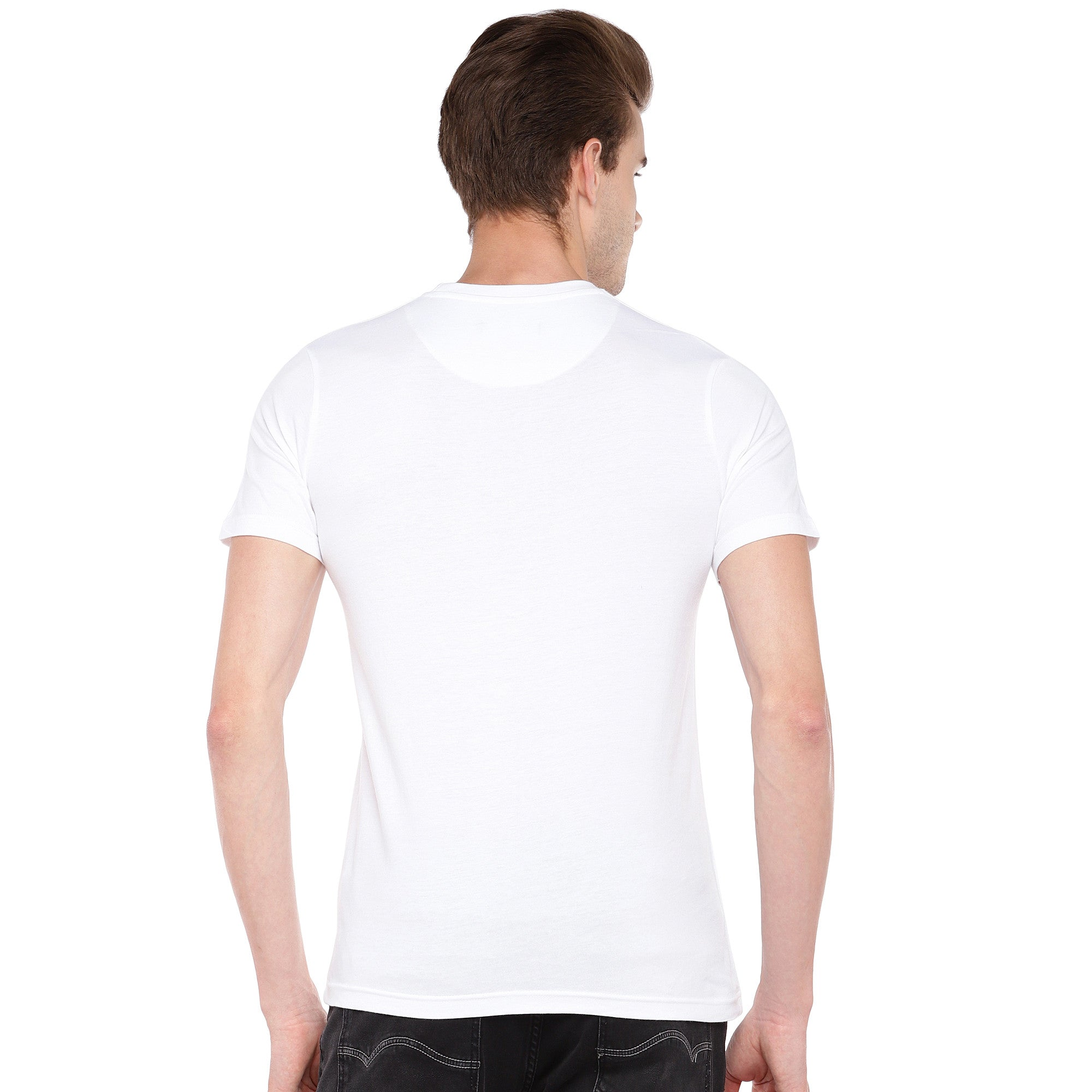 White Printed Round Neck T-shirt-3