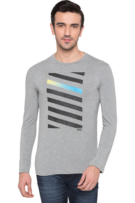 Striped Front Grey Melange Party Tee-1