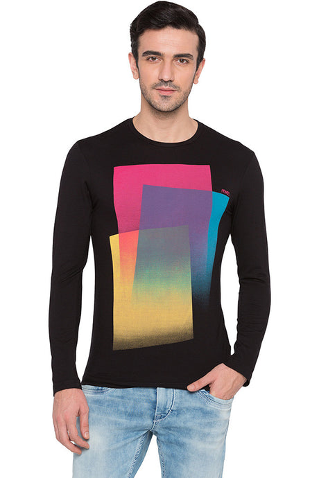 Graphic Print Party Black T-shirt-1