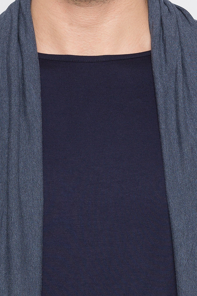 Blue Melange Shrug T-shirt-5
