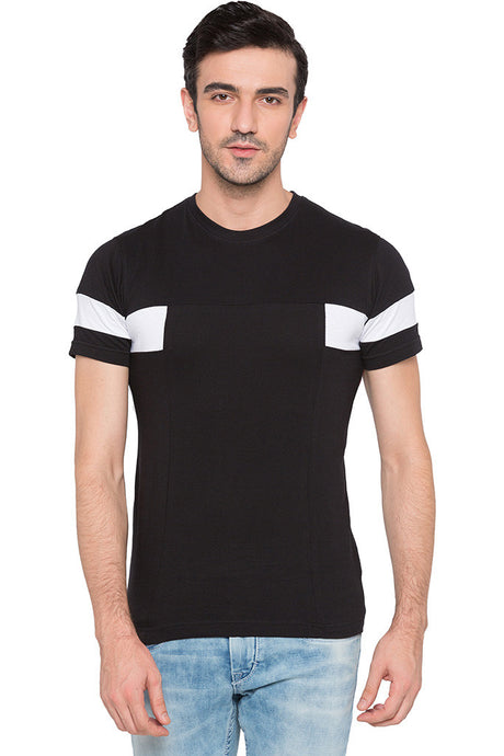 Cut-and-sew Black T-shirt-1