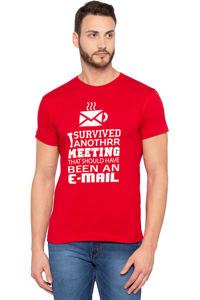 Witty One-liner Print Slim Fit Red Tee-1