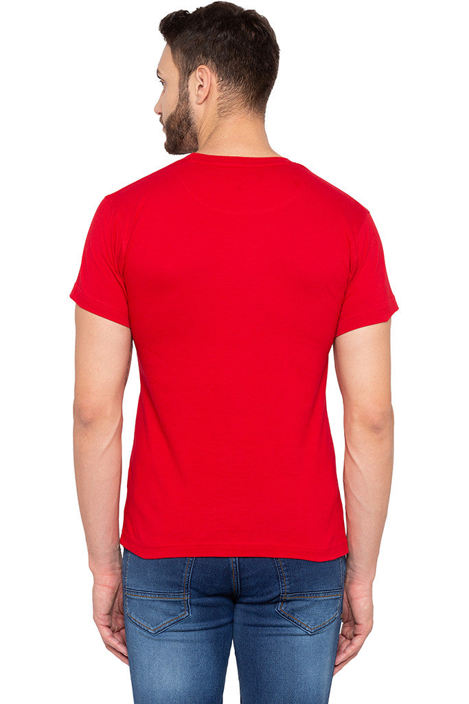 Witty One-liner Print Slim Fit Red Tee-3
