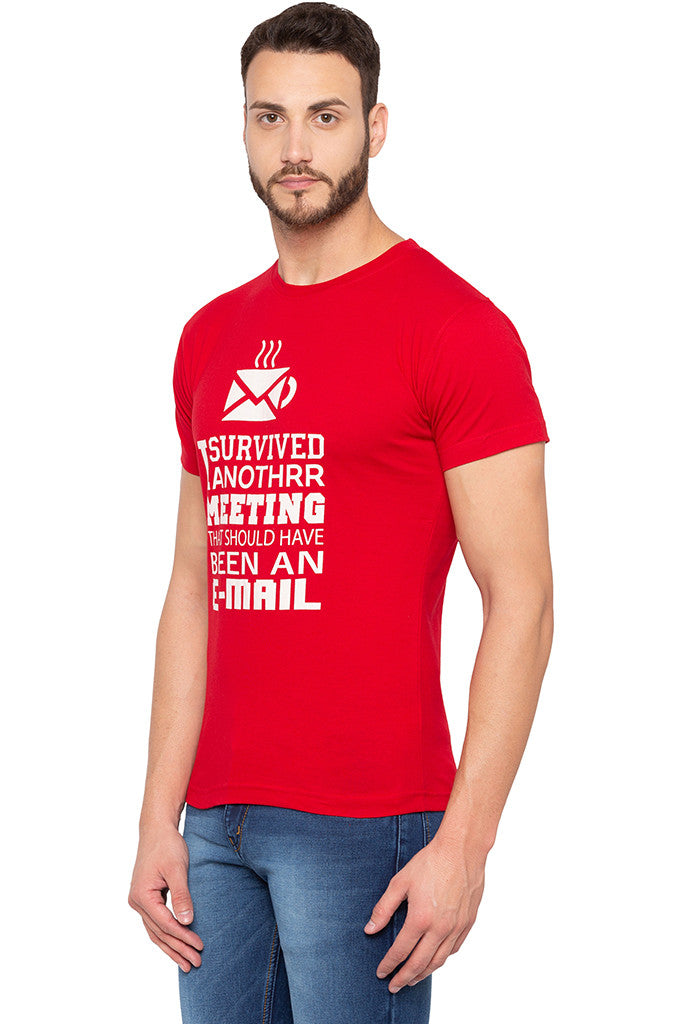 Witty One-liner Print Slim Fit Red Tee-4
