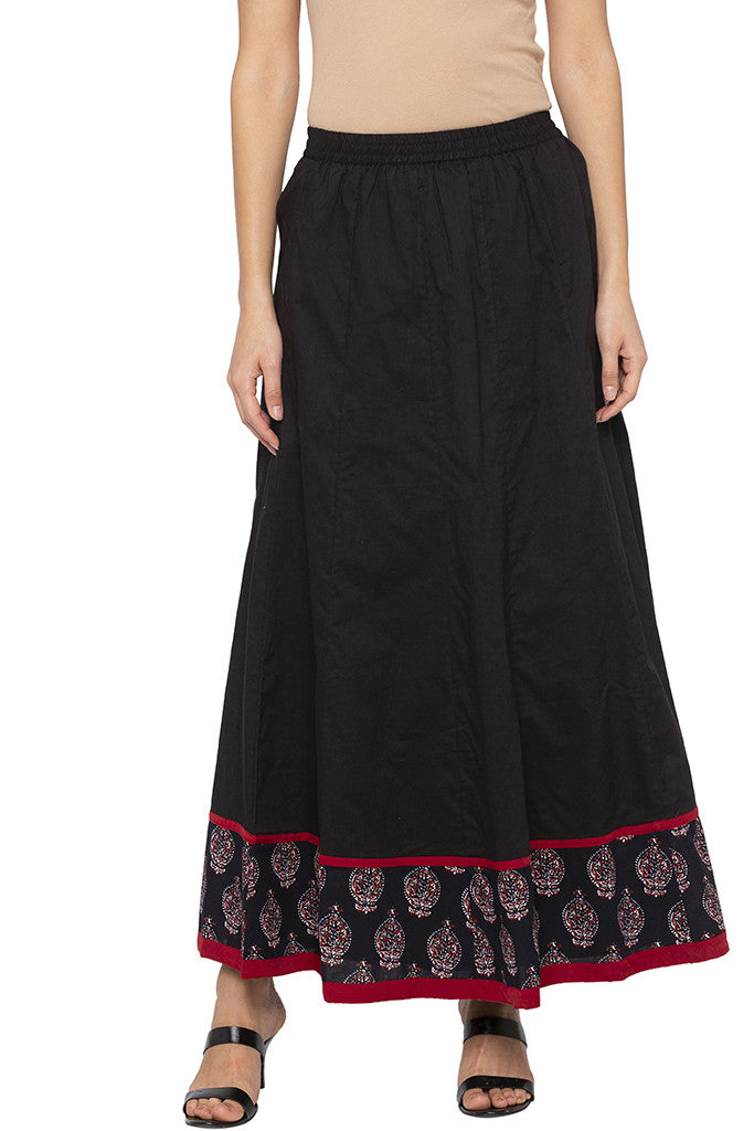 Panelled Long Black Ethnic Skirt-1