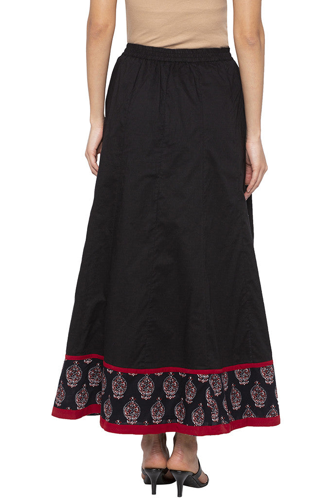 Panelled Long Black Ethnic Skirt-3