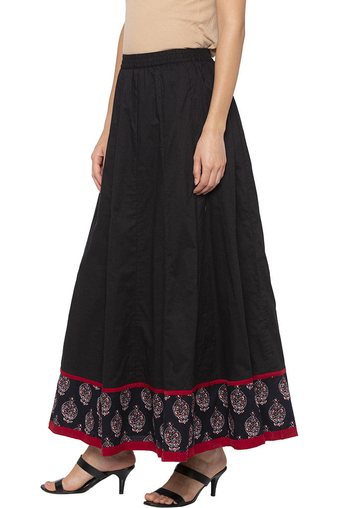 Panelled Long Black Ethnic Skirt-4