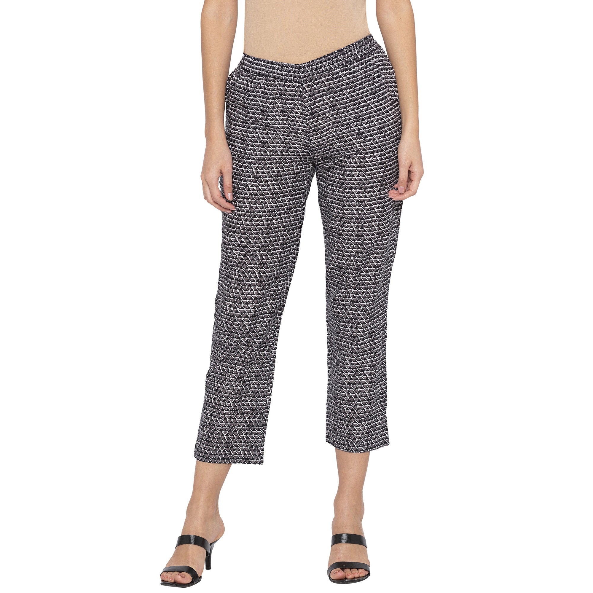 Casual Grey Color Regular Fit Cropped Regular Trousers-1