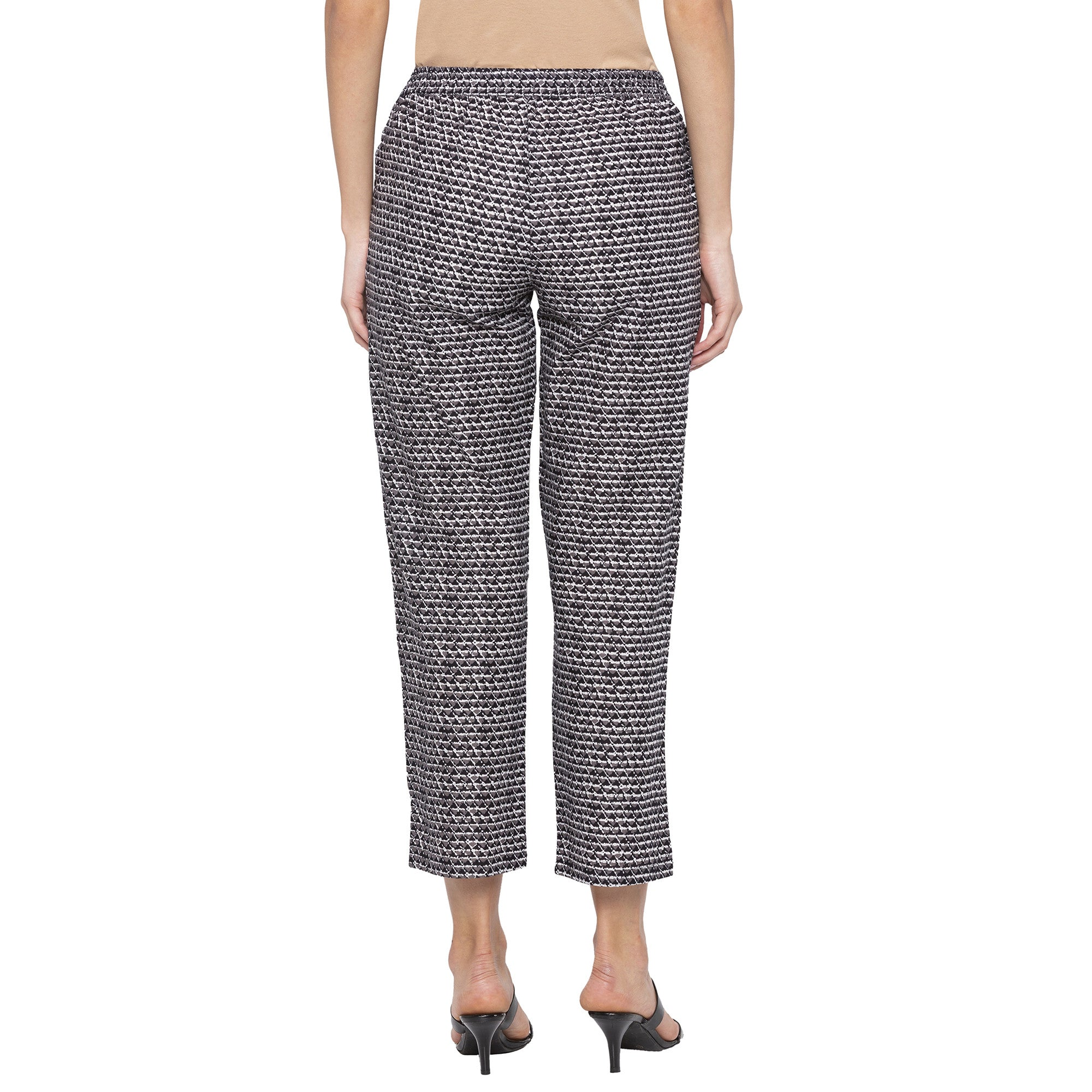 Casual Grey Color Regular Fit Cropped Regular Trousers-3