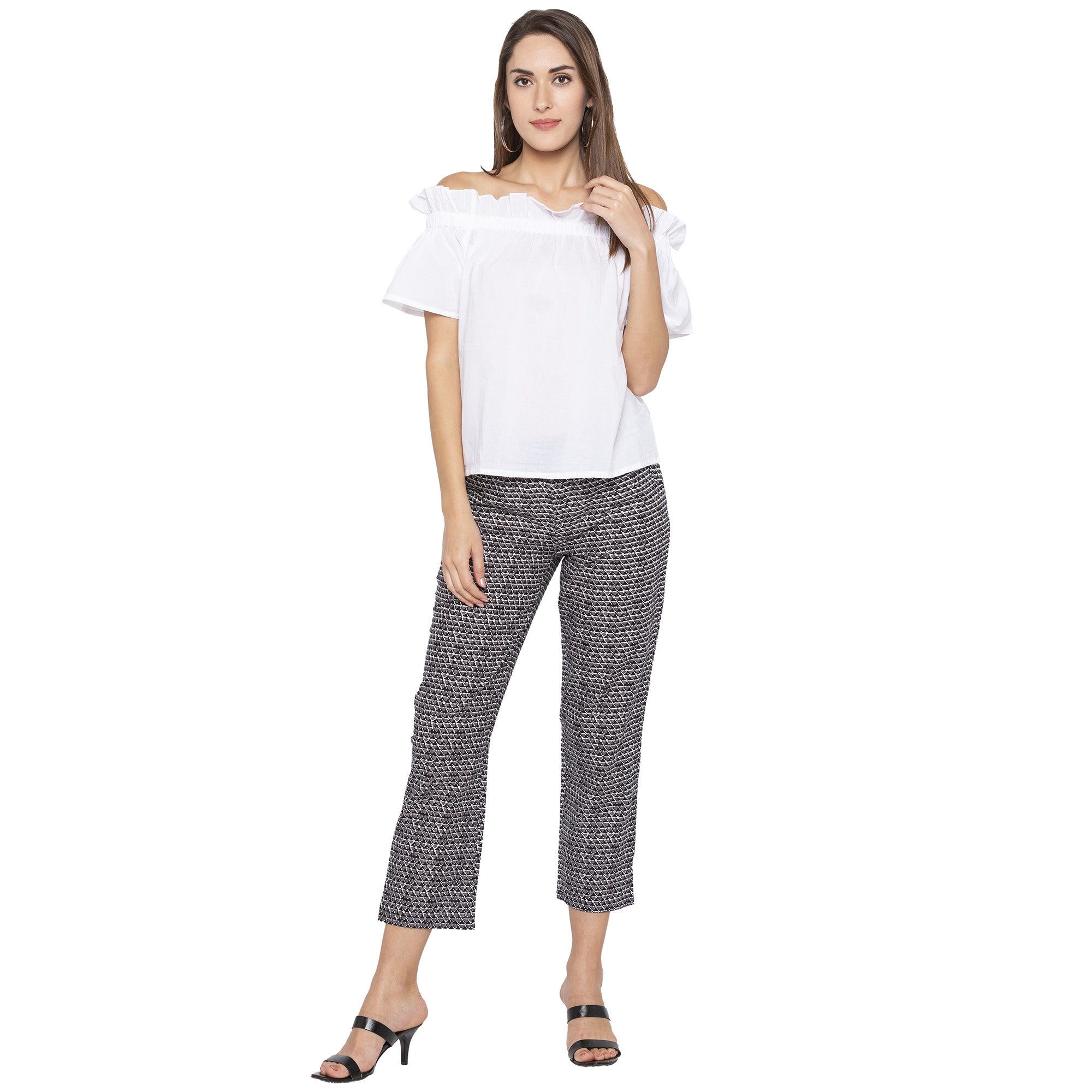 Casual Grey Color Regular Fit Cropped Regular Trousers-4