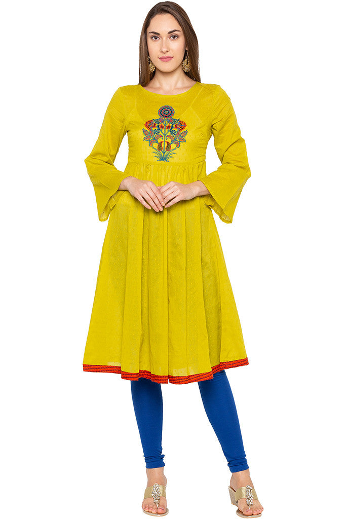 Lime Embroidered Bell Sleeve Lime Kurta-1