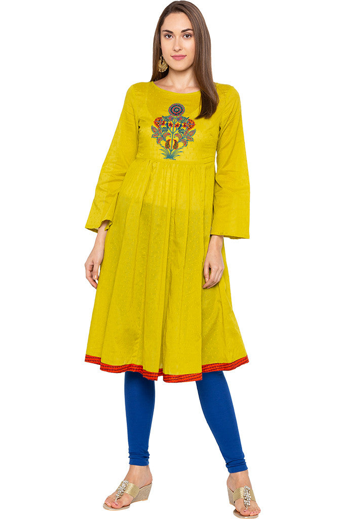 Lime Embroidered Bell Sleeve Lime Kurta-2