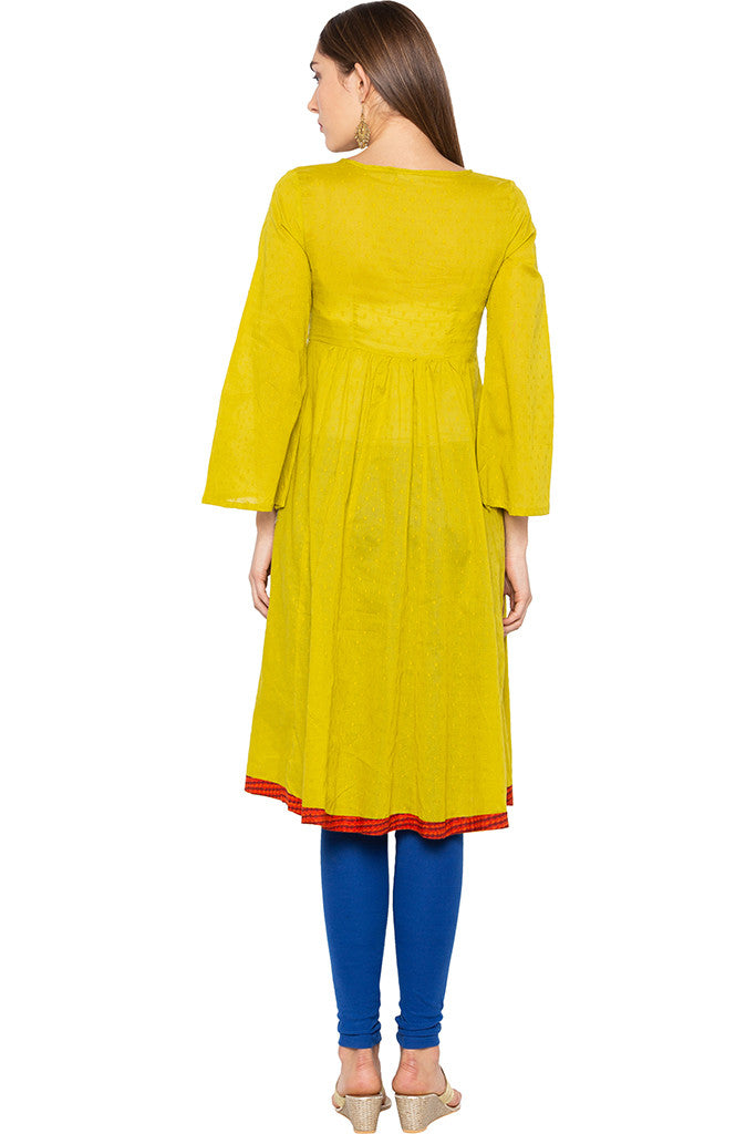 Lime Embroidered Bell Sleeve Lime Kurta-3