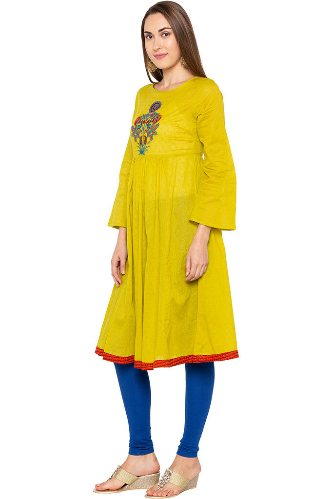 Lime Embroidered Bell Sleeve Lime Kurta-4