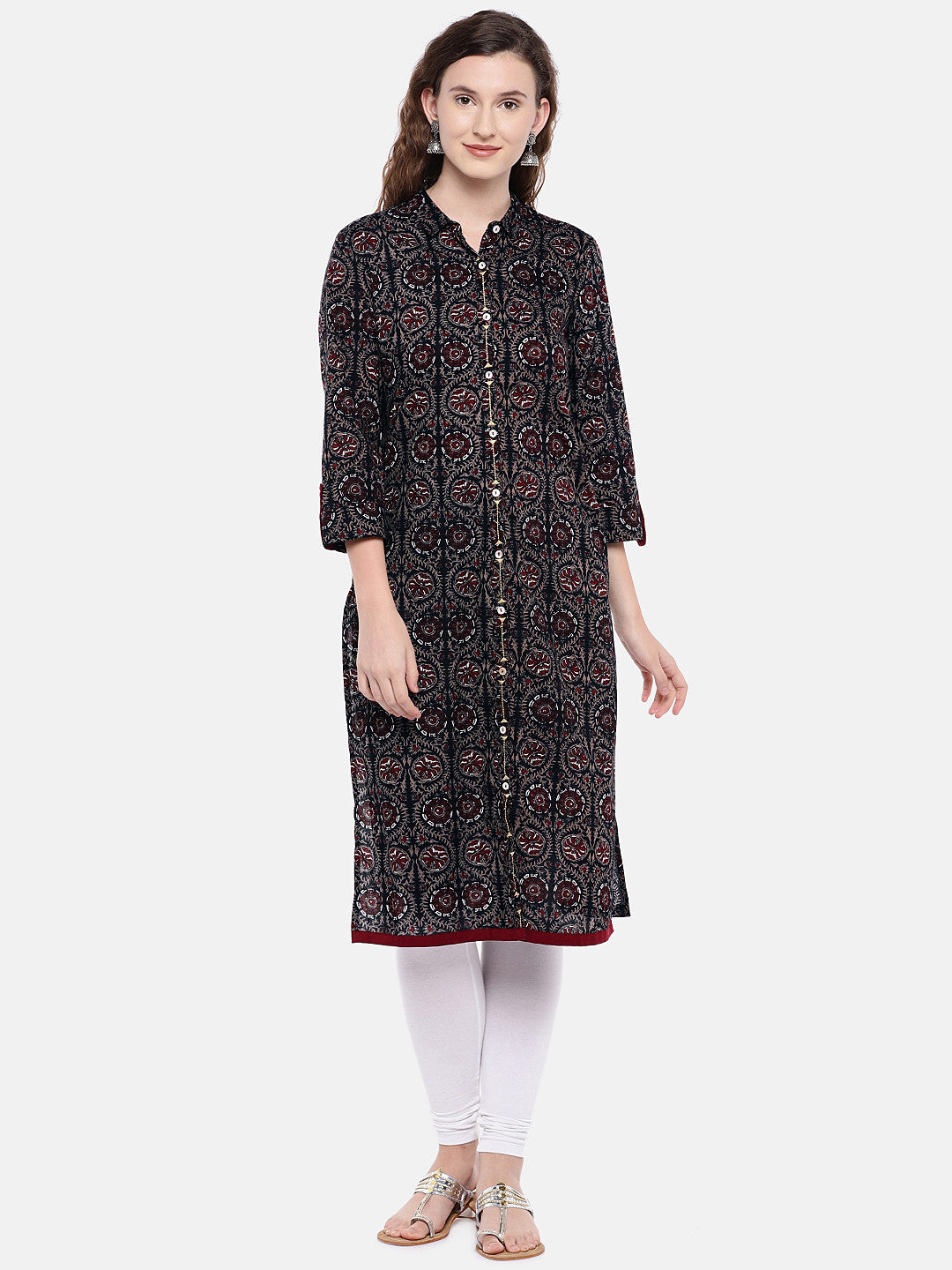 Women Black & Brown Printed Straight Kurta-1