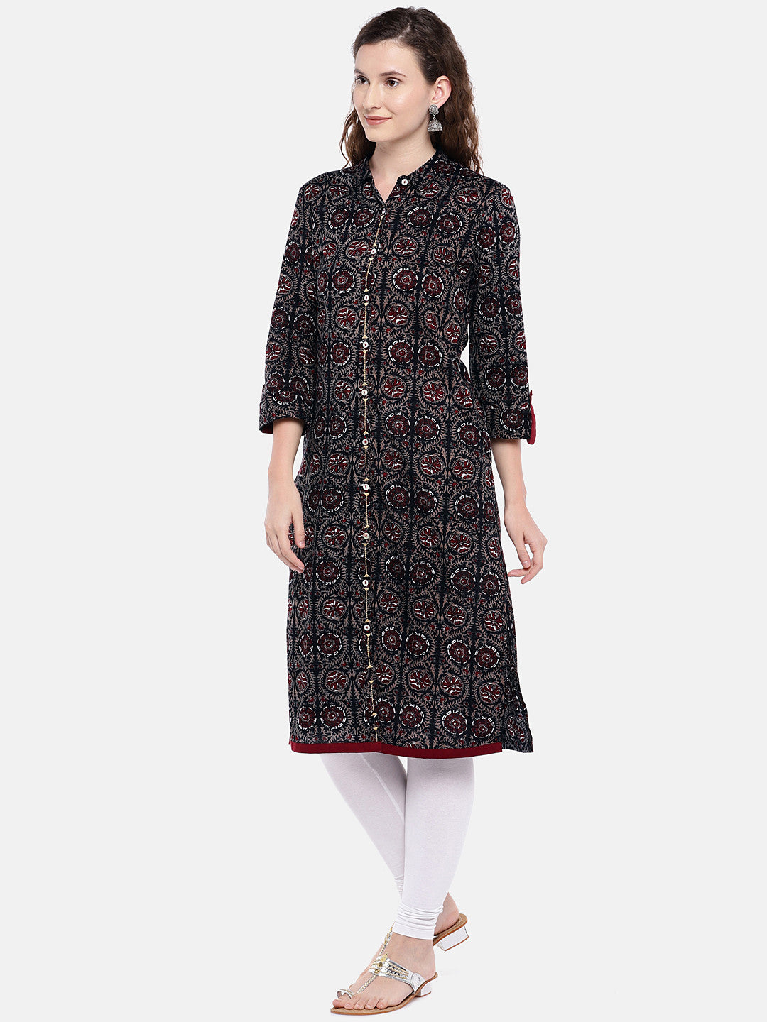 Women Black & Brown Printed Straight Kurta-2