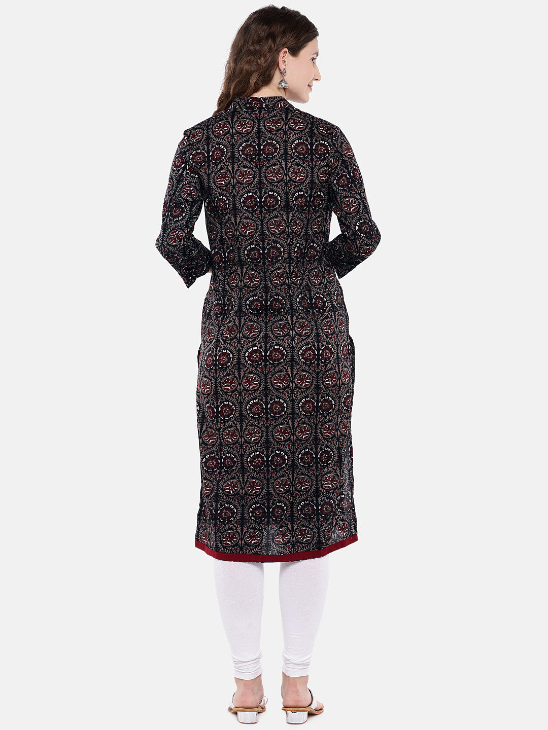 Women Black & Brown Printed Straight Kurta-3