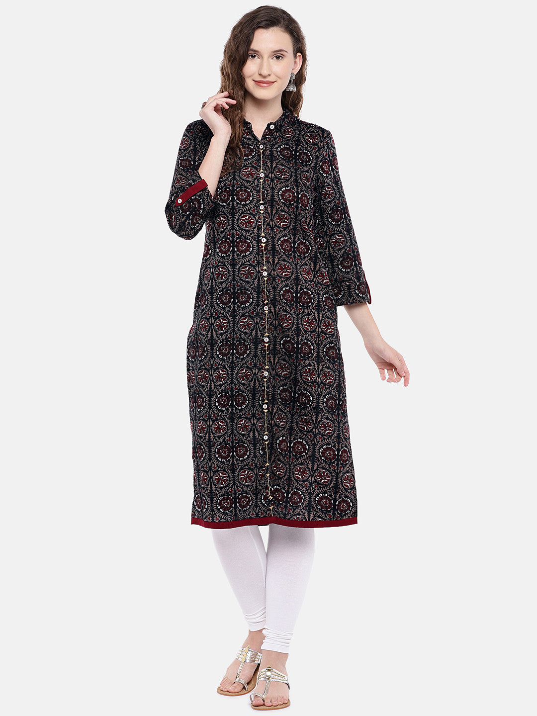 Women Black & Brown Printed Straight Kurta-4