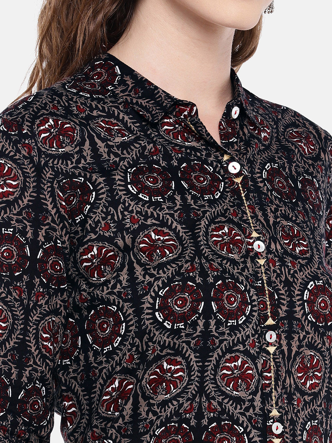 Women Black & Brown Printed Straight Kurta-5