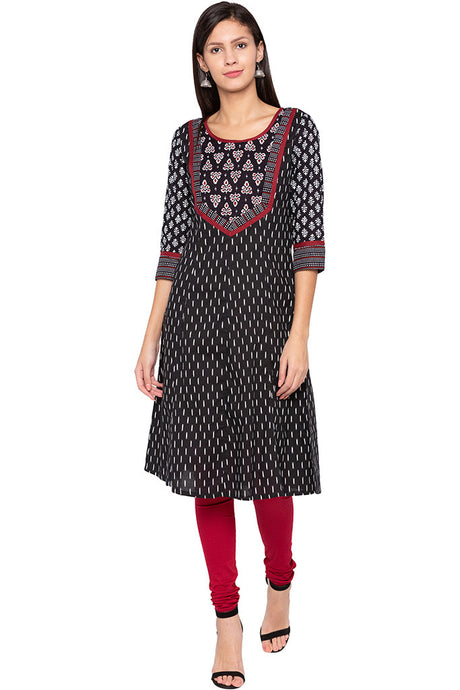 Printed Ethnic Black Kurta-1