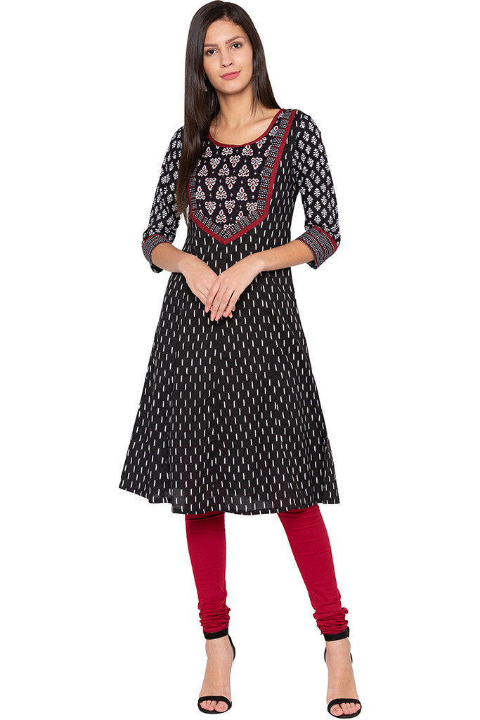 Printed Ethnic Black Kurta-2