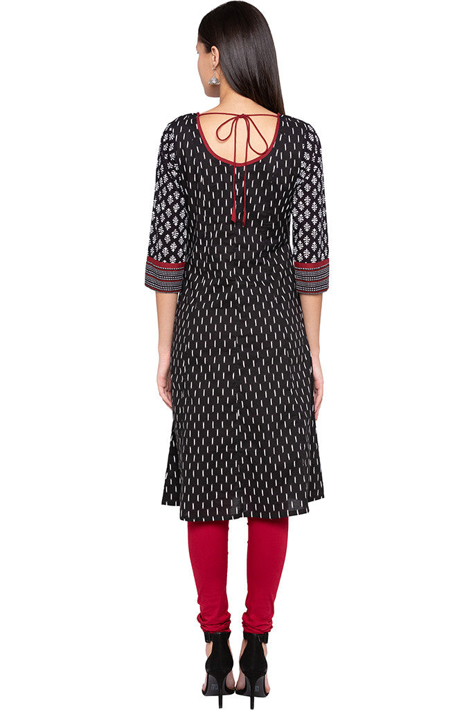 Printed Ethnic Black Kurta-3