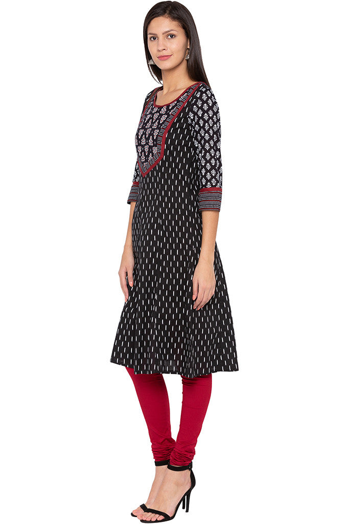Printed Ethnic Black Kurta-4