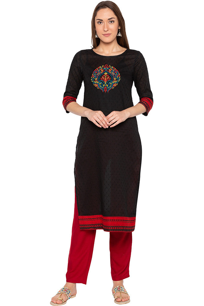 Black Swiss Dot Embroidered Kurta-1