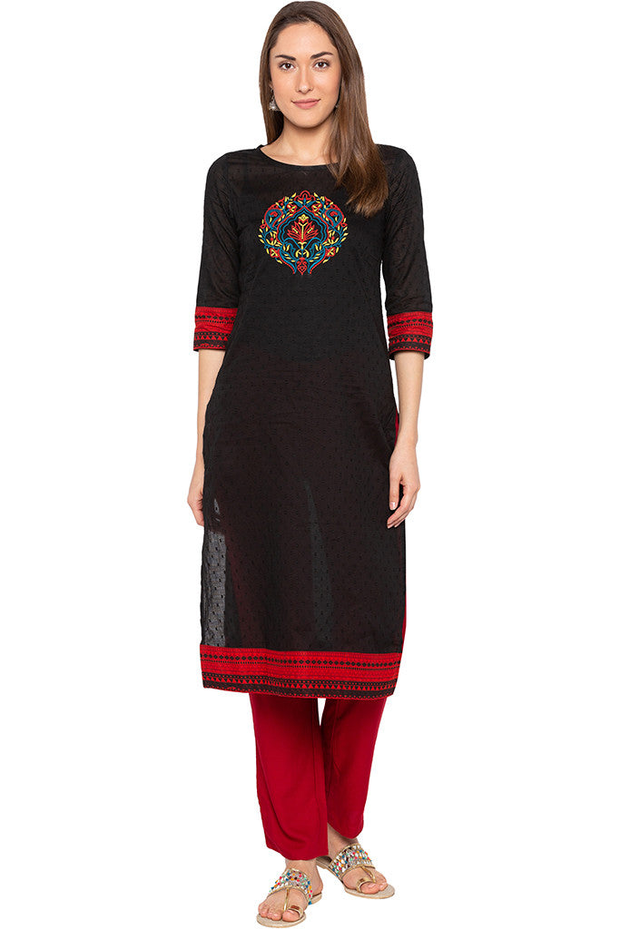 Black Swiss Dot Embroidered Kurta-2