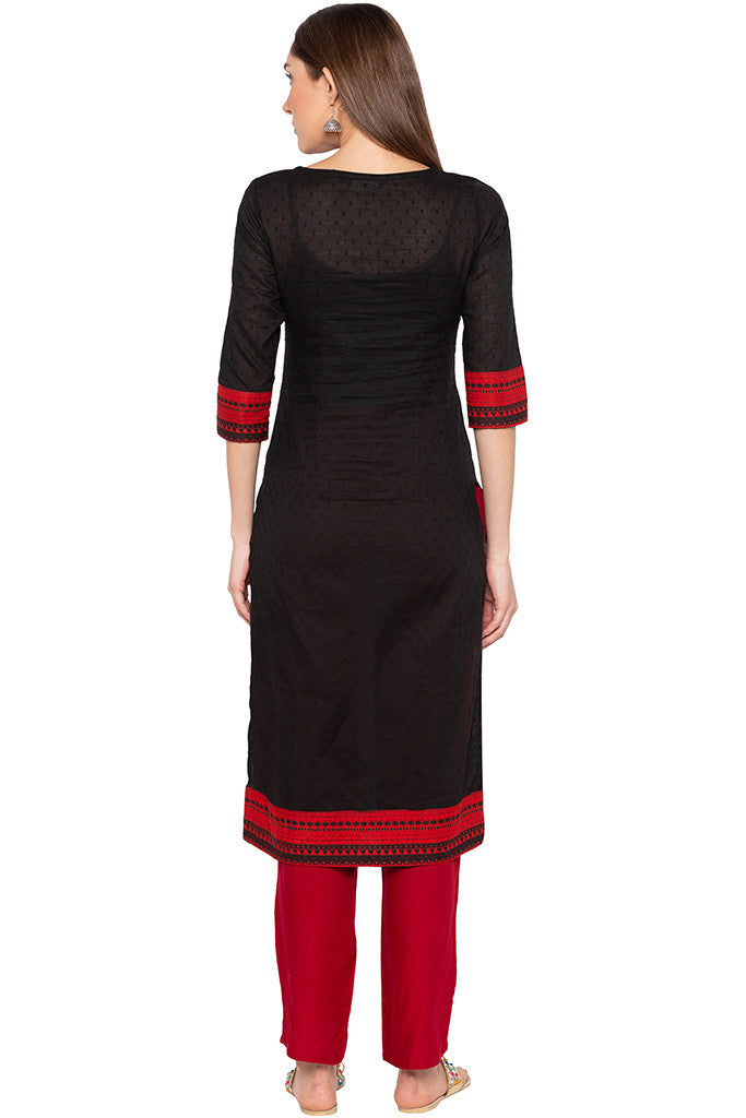 Black Swiss Dot Embroidered Kurta-3