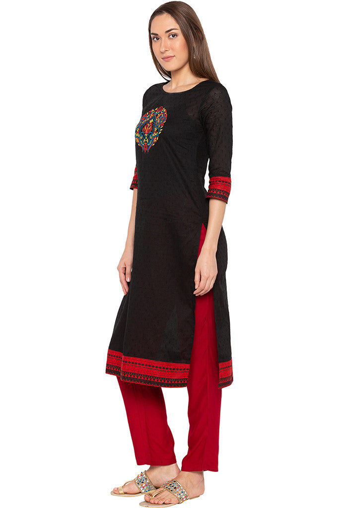 Black Swiss Dot Embroidered Kurta-4
