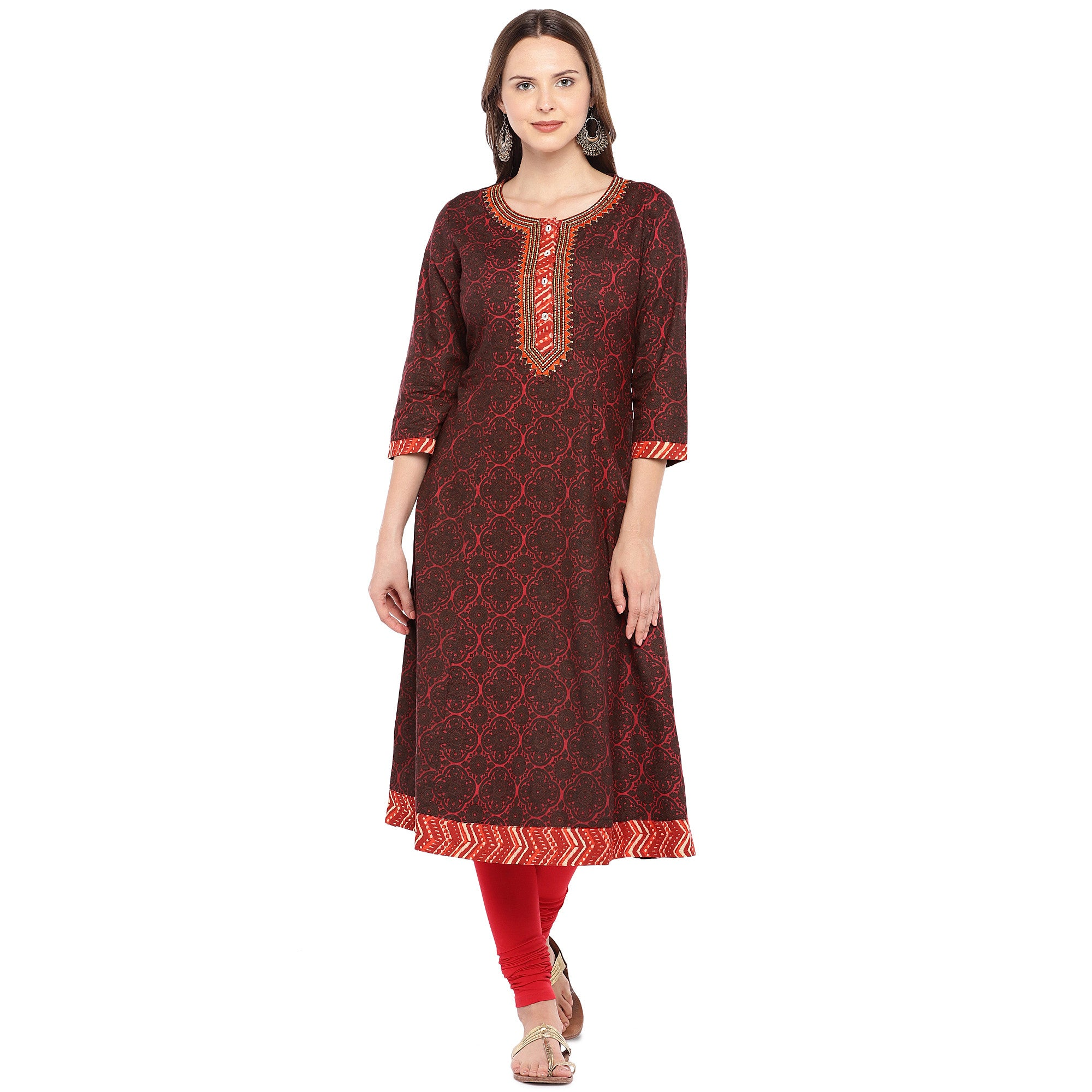 Women Red Printed A-Line Kurta-1