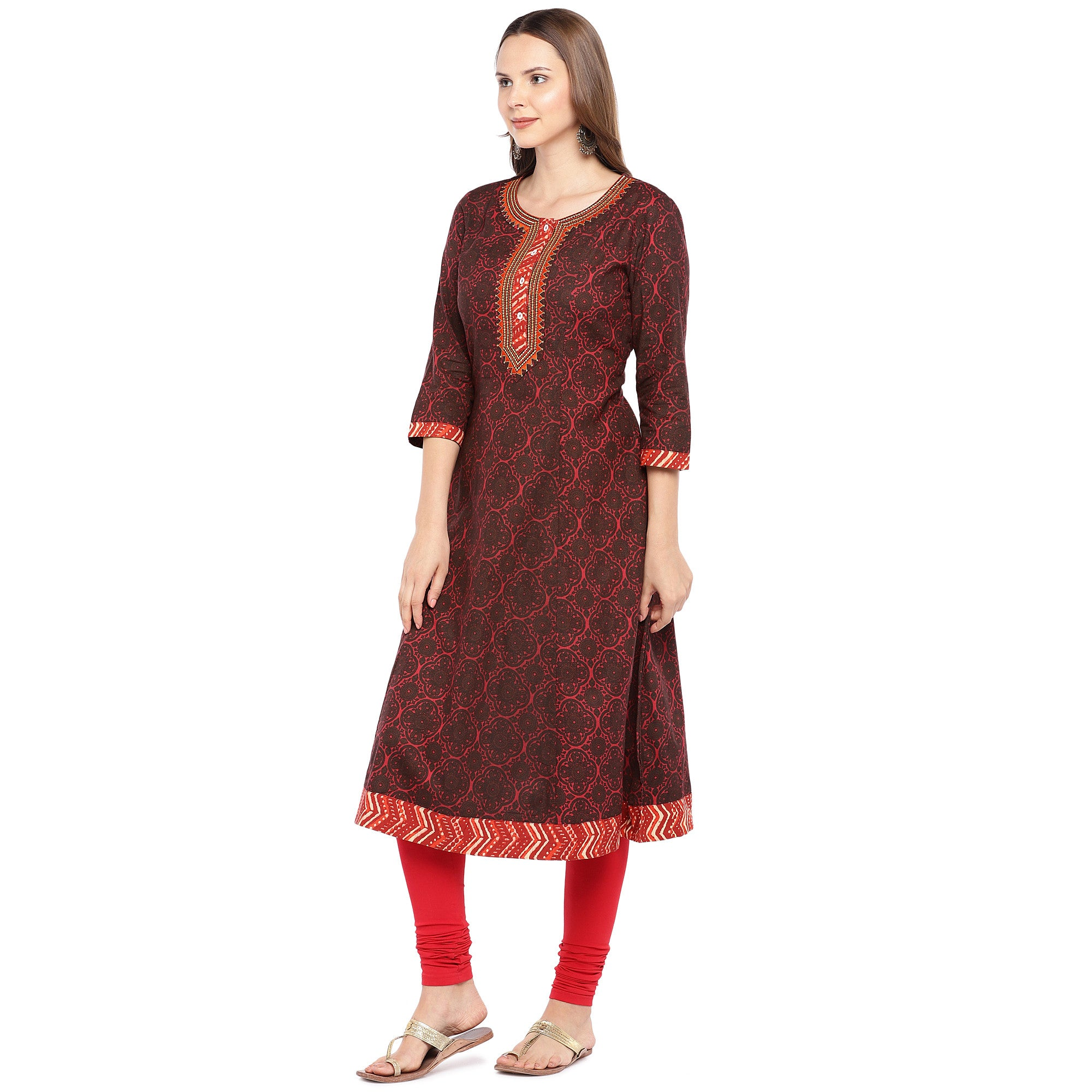 Women Red Printed A-Line Kurta-2