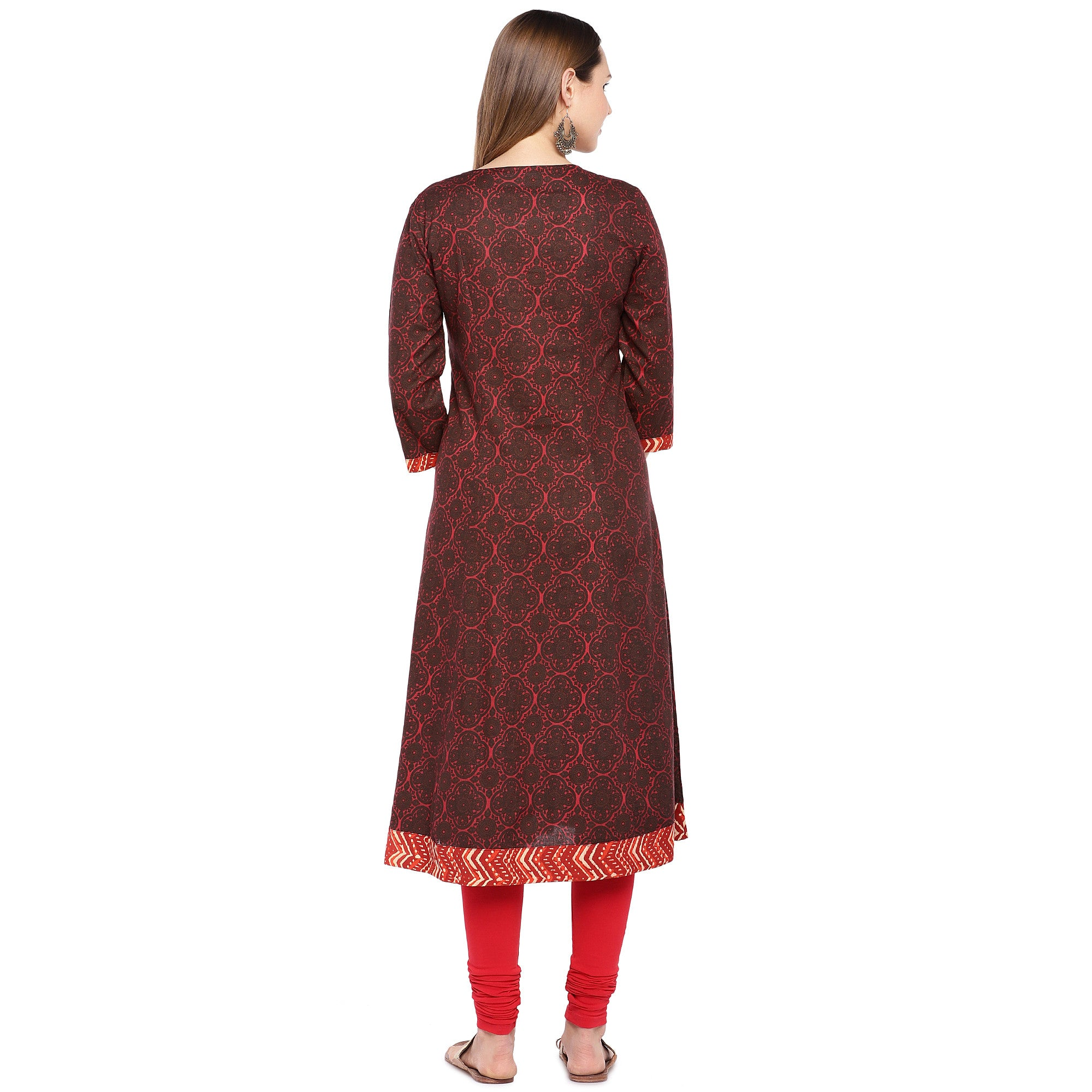 Women Red Printed A-Line Kurta-3