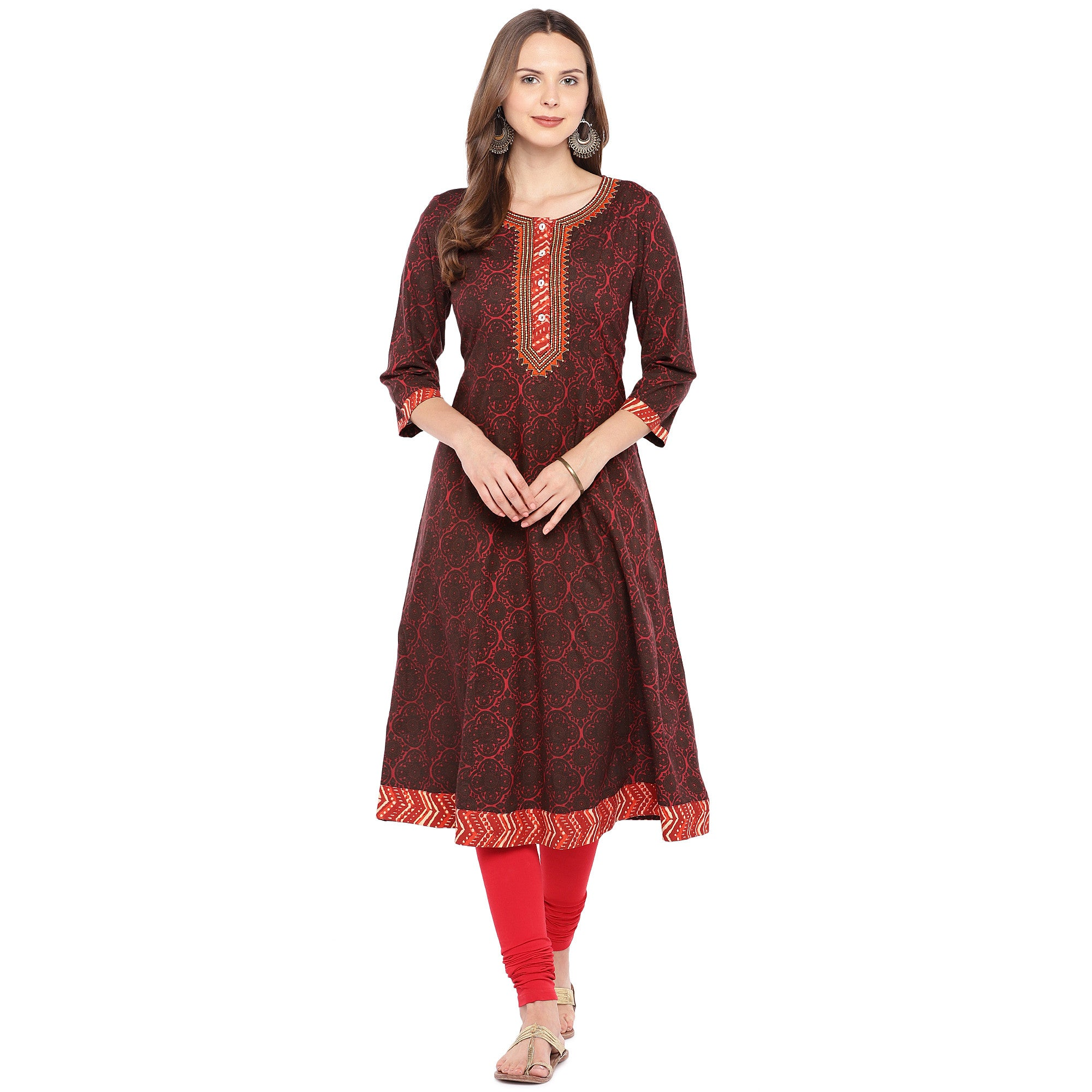 Women Red Printed A-Line Kurta-4
